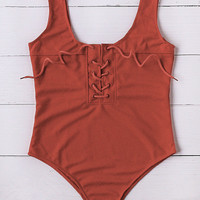 Red Lace Up Scoop Neck One-Piece Swimwear