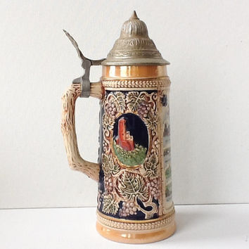 Vintage German Beer Stein with Pewter Lid, Gerz, Souvenir Rheinland Ceramic Beer Stein, Koblenz bis Köln, Rheinland Map, Gift for Men, 00956