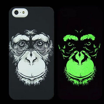 Chimpanzee Animal Handmade Sketch Luminous Light Up iPhone creative cases for 5S 6 6S Plus Free Shipping