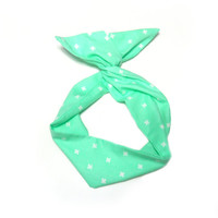 Mint Plus Sign Wire Headband Dolly Bow Knot Headband by All Things in Color