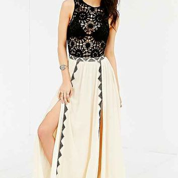 Amuse Society Sia Crochet-Top Maxi Dress- Ivory