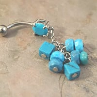 Turquoise Beaded Belly Button Ring