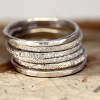 Stacking sterling silver rings set of six , band rings , engraved stacking rings , Sterling Silver Stack Rings with engraved Texture