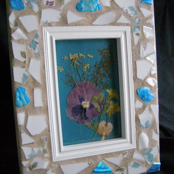 White Pottery Frame, Teal Abalone Shell, 4 x 6, Mosaic, Mother's Day, Hostess Gift, Housewarming, Shabby Chic, Frame, For Her