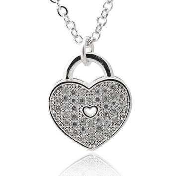 Pave Cubic Zirconia Heart Lock Necklace