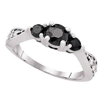 10kt White Gold Women's Round Black Color Enhanced Diamond 3-stone Bridal Wedding Engagement Ring 1.00 Cttw - FREE Shipping (USA/CAN)