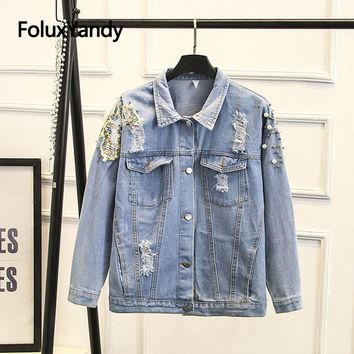 Hole Ripped Denim Jacket Women Plus Size High Street Fashion Sequins Jackets Outerwear Sky Blue SWM1225