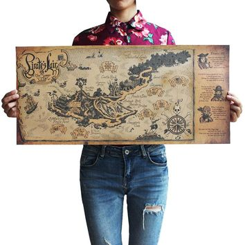 Retro Craft Pirate Sailboat World Map Poster Wall Stickers Living Room Paint Bar Cafe Decoration Ancient 72 * 33 Centimeters