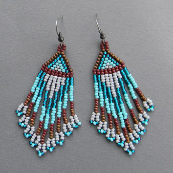 Turquoise, Brown and Grey Native American Style Long Seed Bead Earrings - beaded earrings, ethnic,  boho