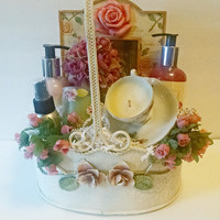 Shabby Chic Candle Gift Basket in Sweet Vanilla Rose