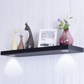 """48""""L Black/White Wall Mount Shelf with LED Lamp This wall shelf with two LED lamps adds ambiance to room and accent special accessories artwork at the same time."""