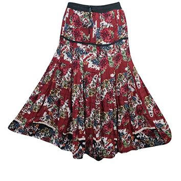 Mogul Womens Maxi Skirts Maroon Floral Printed A-line Flare Bohemian Sexy Long Skirts