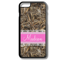 Hot Pink Lace Camo Monogram iPhone 5S 5C 6/6S and Galaxy Custom Personalized Case Cover