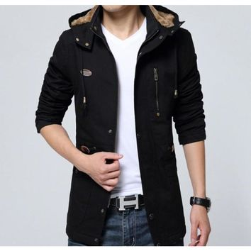 Men Classic Black Military Style Hooded Trench Coat