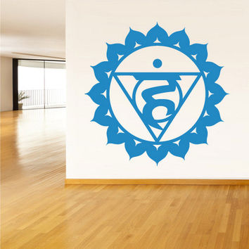 rvz1304 Wall Decal Vinyl Sticker Decals Throat Chakra Indian Om