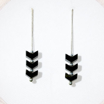 Handmade Chevron Earrings, Black Earrings, Hematite Earrings, Chain Earrings, Long Chain Earrings, Long Dangle Earrings