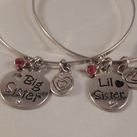 Big Sister, Little Sister Bangle Set, Rhinestone charms - gift for Christmas, Birthdays, Just Because - daughters, sisters, granddaughters