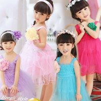 Girls Children Lace Princess Dress Girls Solid Sleeveless Lace TUTU Suspenders Dress Kids Summer Stereoscopic Flower Lace Dress 5 pcs/lot
