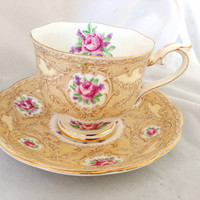 Devonshire Lace Royal Albert English Fine Bone China Vintage Teacup & Saucer Set - Antique style pink roses cream lace - crown china brown