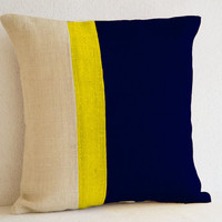 Burlap Pillows -Navy Blue Yellow Burlap Solid Stripe Color Block Pillow - Blue Decorative cushion cover- Navy Throw pillow -18 inch square