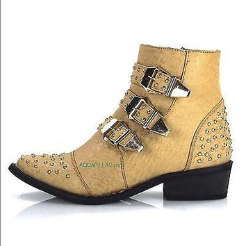 Arly by Shoe Republic, Camel Ostrich Western Flat Ankle Boots w/ 3 Strap & Metal Studded Detail