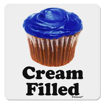 "Cream Filled Blue Cupcake Design 4x4"" Square Sticker by TooLoud"