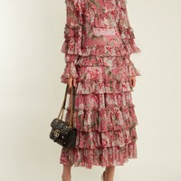 Ruffled silk-georgette gown | Gucci | MATCHESFASHION.COM US