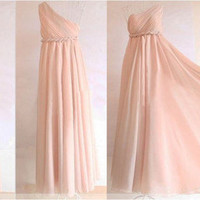 Greek One Shoulder Pleated Chiffon Long Dress
