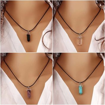 Natural Quartz Crystal Stone Point Chakra Healing Gemstone Pendant Necklace ( 5 colors to choose from)