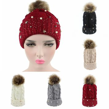 Fashion Women Lady Baby Faux Fur Ball Winter Warm Crochet Knitted Hat Cap Beanie 2017 girl lady winter beanies hat Skullies hot