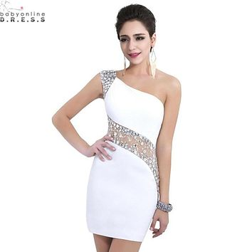Sexy See Through Waist Mini Cocktail Dresses 2017 One-shoulder Beaded Crystal White/Black Short Prom Dresses Free Shipping