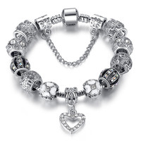 Beautiful Pandora Charm Bracelet - Silver Crystal Beads