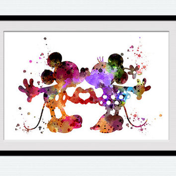 Mickey and Minnie in love art print Mickey Mouse watercolor print Minnie Mouse art poster Kids room decor Home decoration Gift idea W693