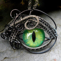 Gothic Steampunk Mink Evil Eye Pendant with by twistedsisterarts