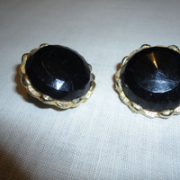 Black Flaceted Gold Tone Vintage Clip On Earrings Ladies Gift