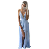 Deep V-Neck Sexy Women Summer Chiffon Dress Womens Sleeveless Boho Long Maxi Evening Party Beach Ladies Dress Femme Vestidos J3