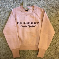 Burberry Stylish Women Casual Embroidery Logo Pink Long Sleeve Pullover Top Sweater I