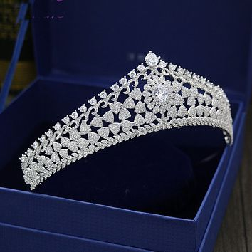 Luxury AAA Cubic Zirconia Tiara Wedding Crown Silver Bridal Hair Jewelry Accessories Queen Princess Cosplay