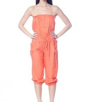Strapless Capri Jumpsuit with Drawstring - Coral from Casual & Day at Lucky 21 Lucky 21
