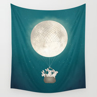 moon bunnies Wall Tapestry by Laura Graves