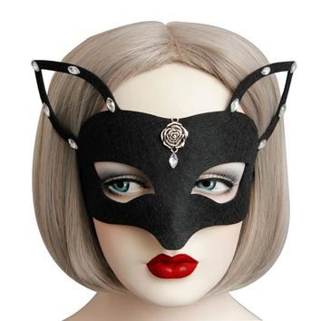 Black Fox Head Headwear  half Face Adult Mask Breathable Halloween Masquerade Fancy Party Cos Costume Lovely Animal Mask