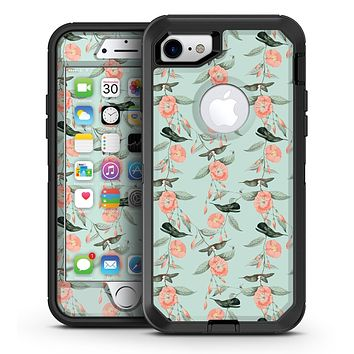 The Vintage Mint Floral Hummingbird  - iPhone 7 or 7 Plus OtterBox Defender Case Skin Decal Kit