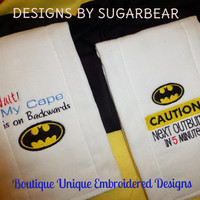 BATMAN Burp Cloths Baby CAPE on BACKWaRDS or NeXT OuTBURST for Your Baby SuPER HERO BOUTiQUE CUSToM Embroidered Designs by Sugarbear