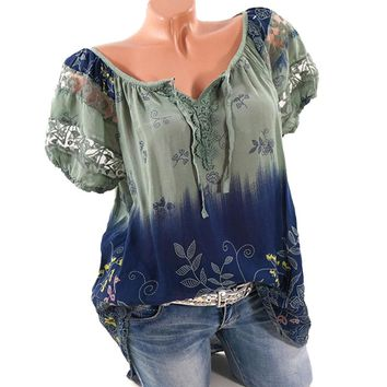5XL Plus Size Women Hollow Out Lace Splice Blouse Summer Clothes V Neck Tie Bow Print Bohemian Floral Blouses WS6922U