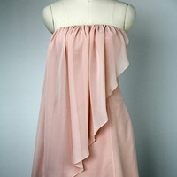 A-line Strapless Short Chiffon over Satin Prom Dress, Chiffon Prom Dress Short