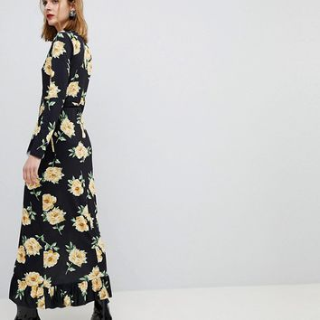 ASOS Maxi Wrap Dress In Large Bloom Print at asos.com