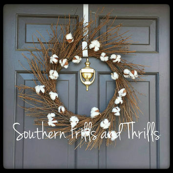 Cotton Wreath, Rustic Wreath, Wedding Wreath, Sunburst Wreath, Grapevine Wreath