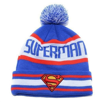 2015  New Order get gift New Fashion 2015 Unisex Women Men Autumn Winter Knitted Cap Elastic Hat superman Hip-hop Pullover Warm Wool Hats Dribbling Jacquard (Color Blue) = 1946285764