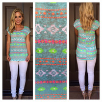 Neon Tribal Short Sleeve Top