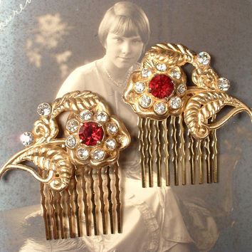 Vintage Ruby Red Rhinestone Gold Bridal Hair Comb PAIR, Art Deco True Vintage Pave Crystal Fur Clips to OOAK Hair Accessories Set of 2 1940s